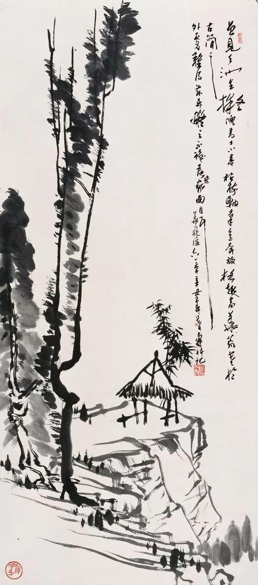 小亭枯树图轴