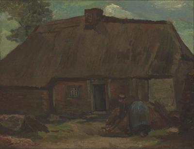 《挖炭农妇和村舍》