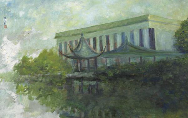 颜文樑《沧浪夏夜》油画 纸板 1985年