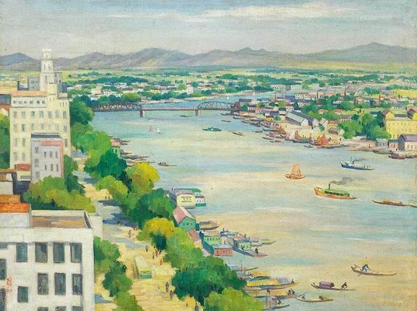 周碧初《俯瞰珠江》油画 1961年