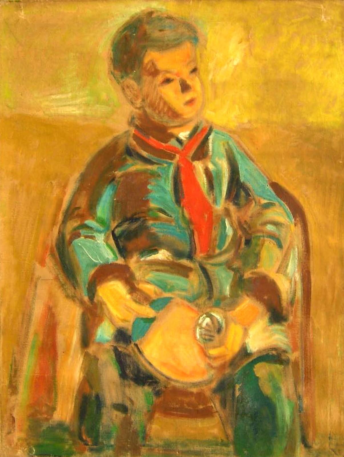 吴大羽《乒乓男孩》油画  80x60cm