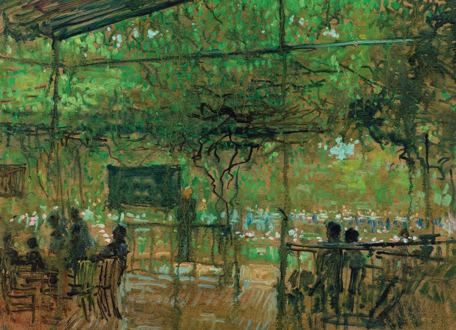 任微音《雨中品茶》油画 36 x26cm  1979年