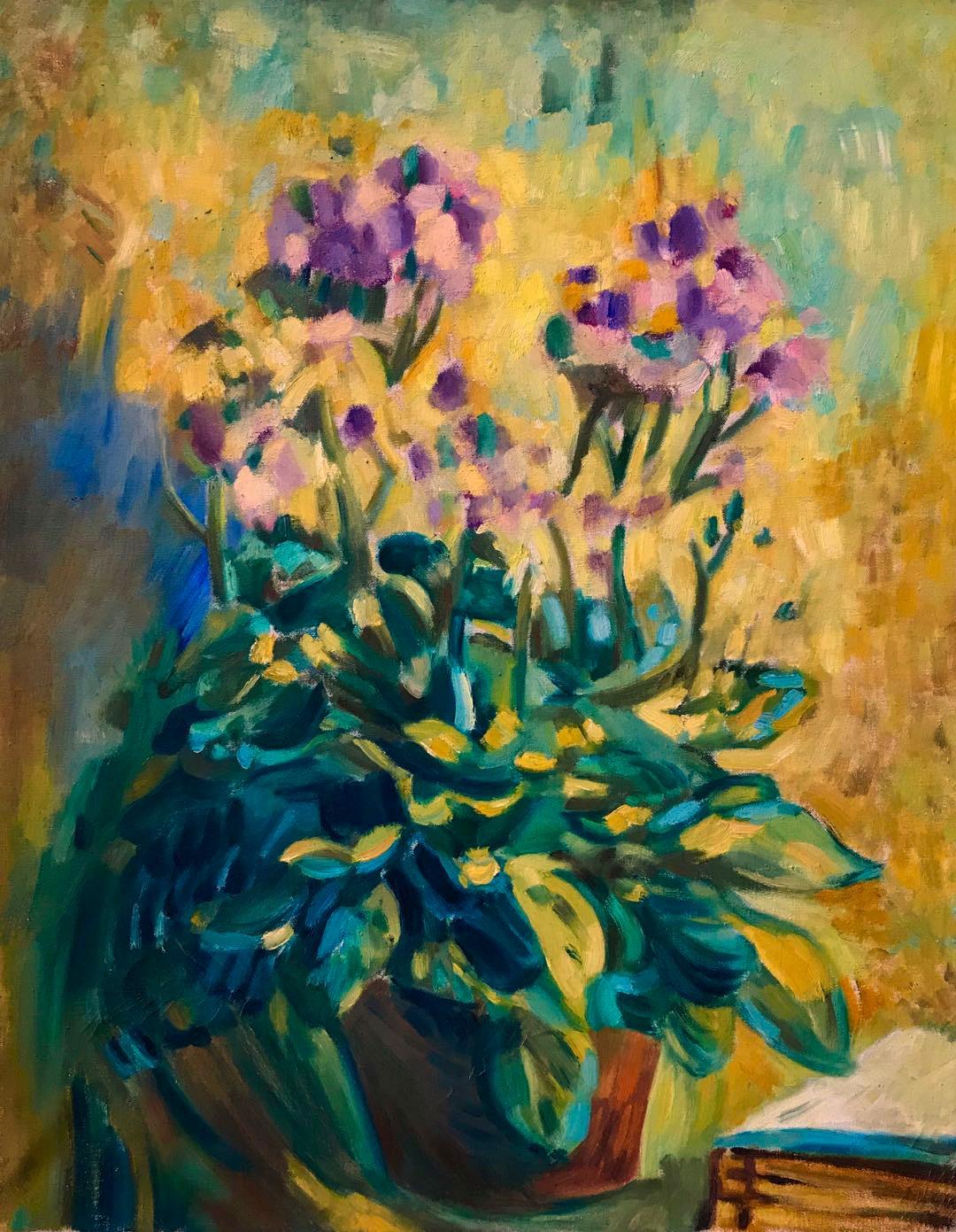 吴大羽《花》油画  48.3x38cm  50年代