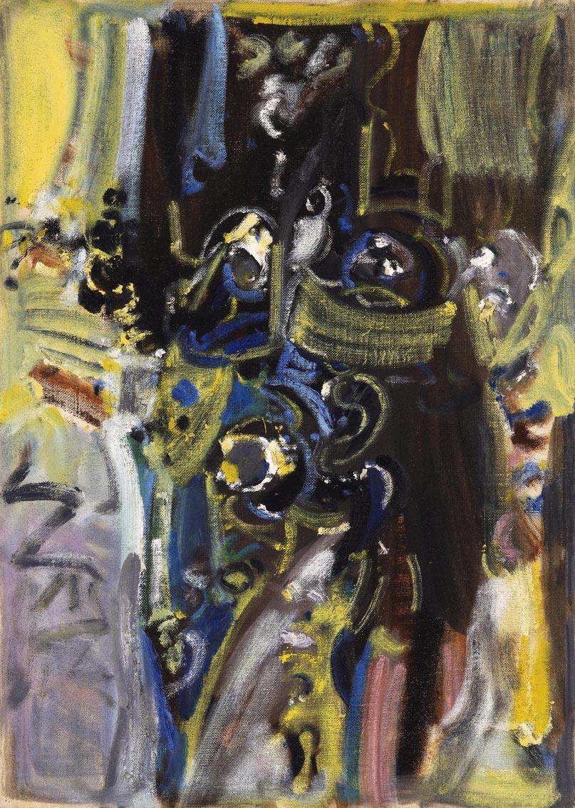 吴大羽《射戟辕门》油画 52.8x37.8cm  80年代