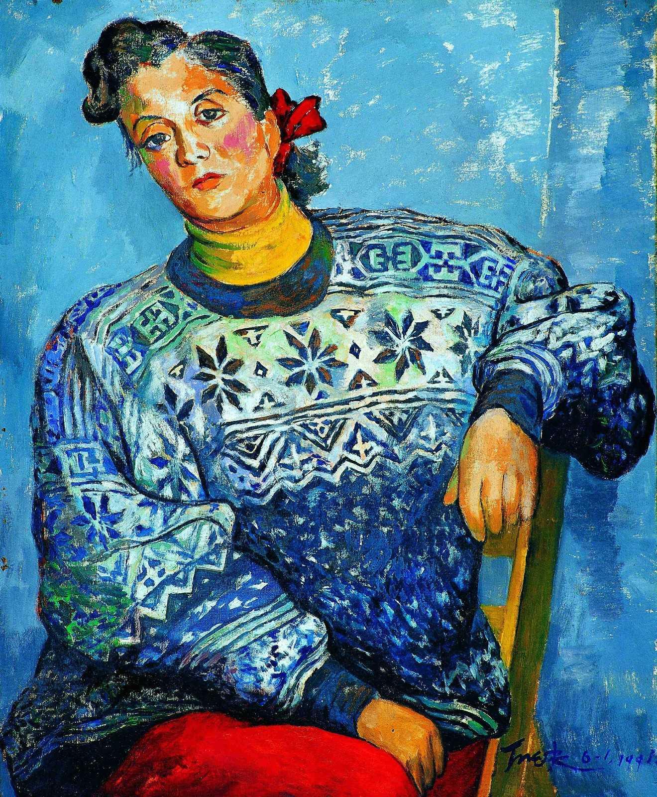 丁天缺《红发髻》布面油画  72x52cm  1991年