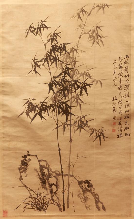 清 郑燮 《竹石图轴 》山东博物馆藏
