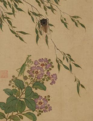 清恽冰《四季虫卉图册》 (局部)