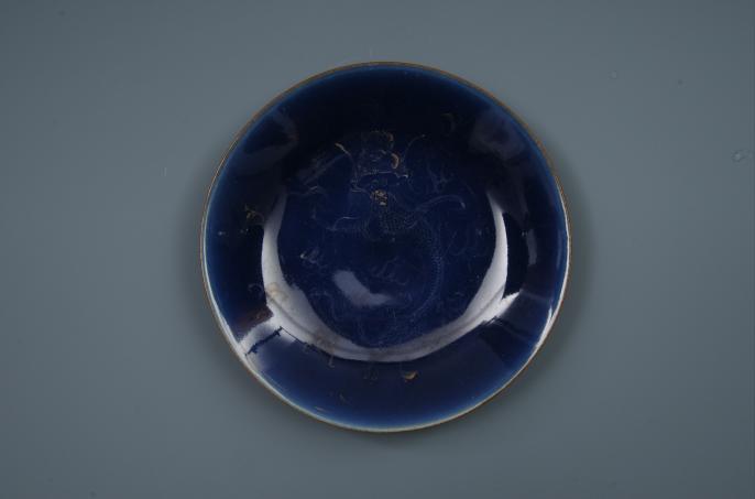 清蓝釉描金龙纹盘
