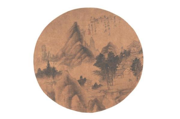 清胡世隽《山水团扇页》