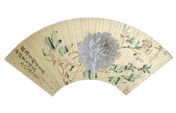 清 方薰 《花卉扇面》