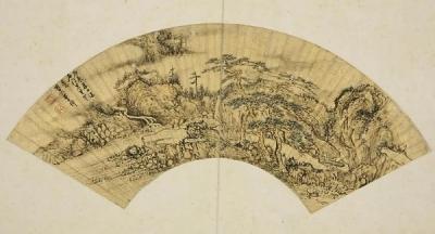 明 李韡《墨笔山水图扇面》