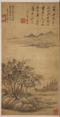 清 王翚《草堂芦艇图轴》