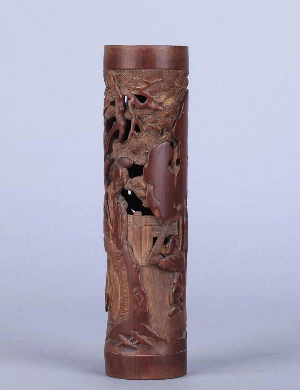 竹雕教子图香筒