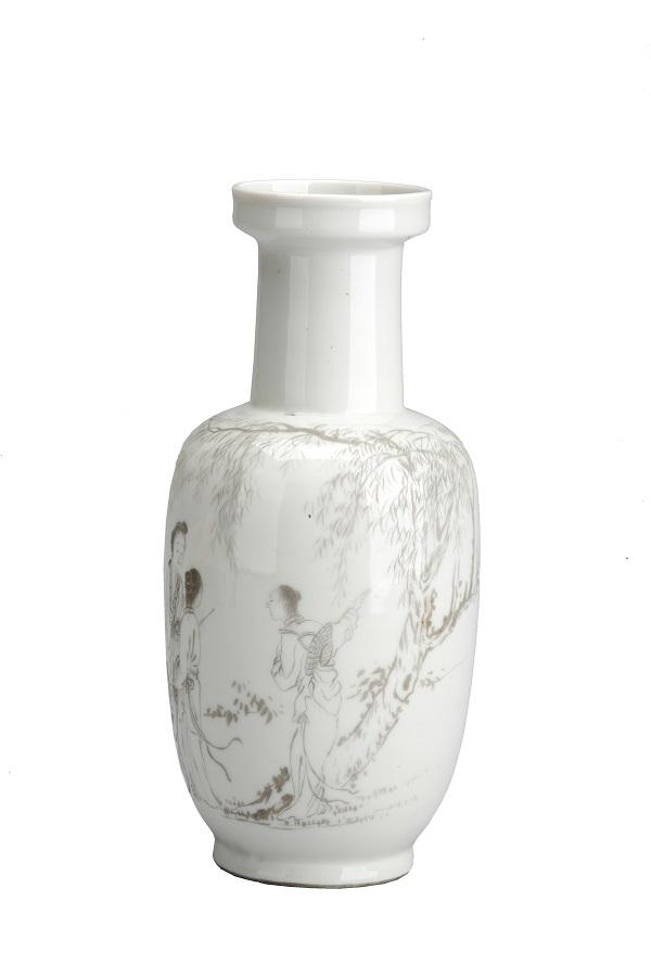 臧柔刻仕女图瓷瓶