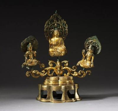 鎏金铜阿弥陀三尊坐像