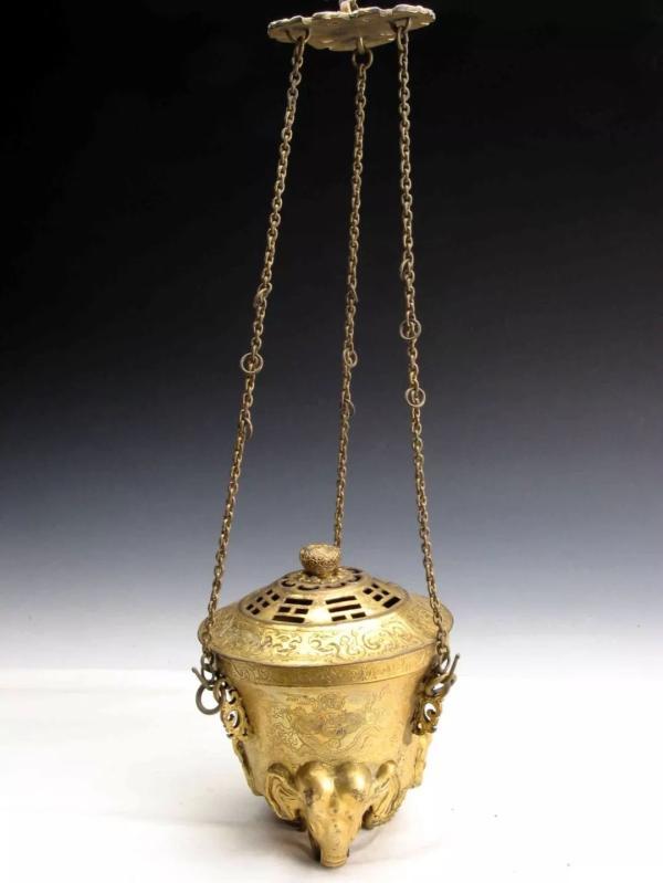 清铜鎏金 八卦象足提炉