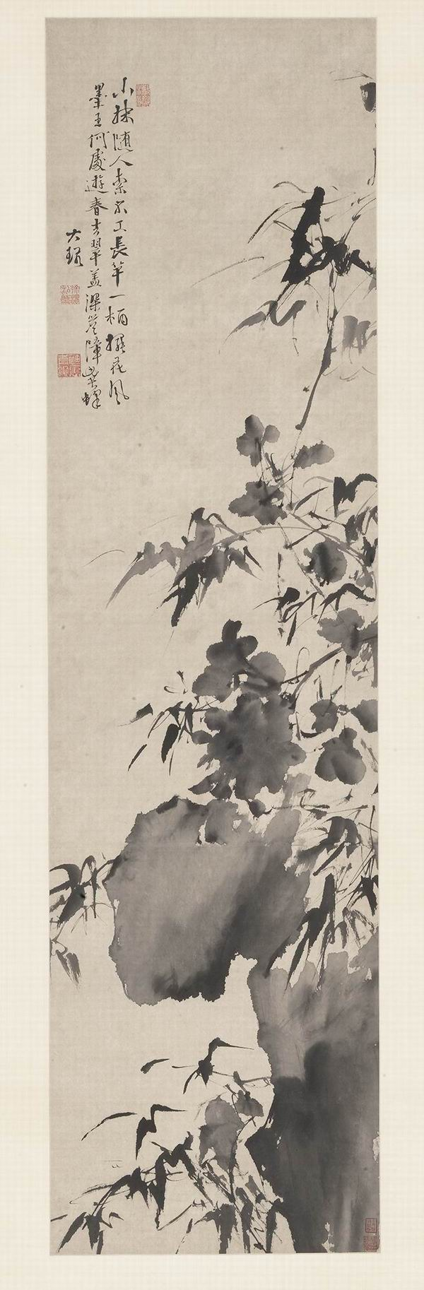 明 徐渭 竹石牡丹图轴