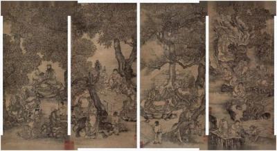 罗汉图 四条屏 丁云鹏(南羽)
