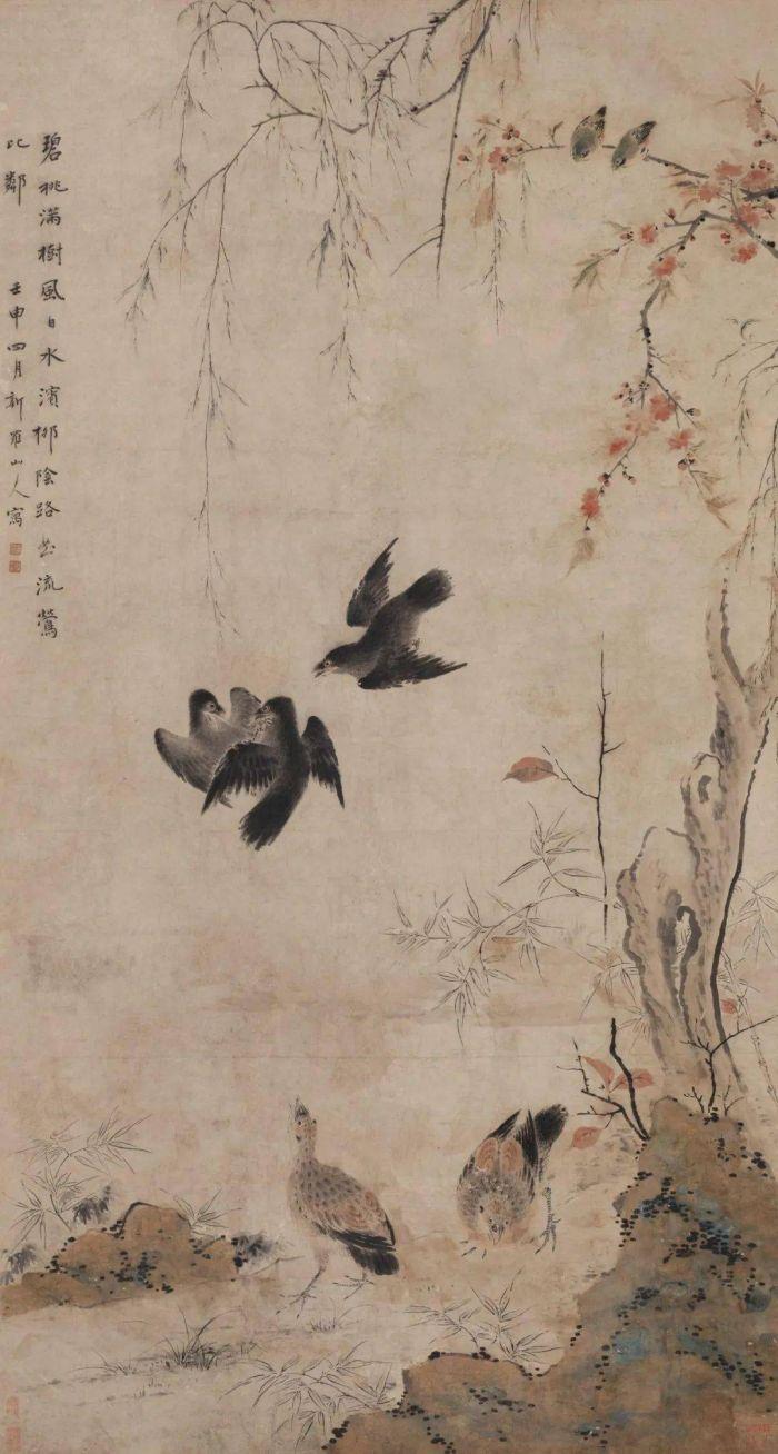 桃柳聚禽图 轴 华嵒