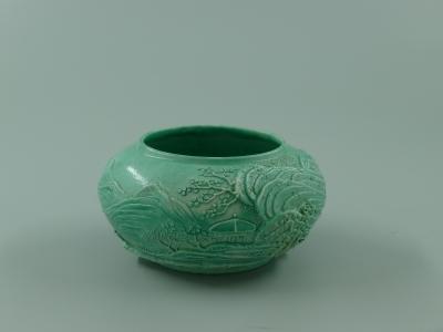 绿釉雕瓷山水纹水盂