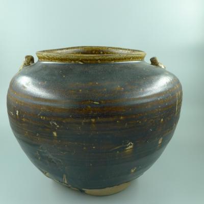 宣州窑黑釉双系大罐