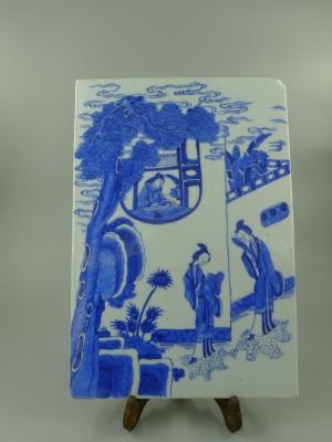 青花龙女听琴纹瓷板