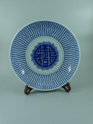 青花团寿纹盘
