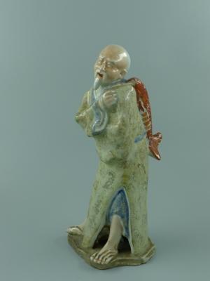 粉彩瓷塑渔翁