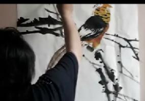 宋鲁民画锦鸡紫藤