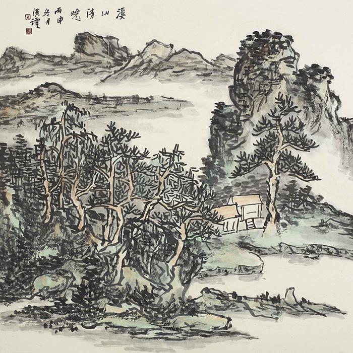 溪山清晓(四尺斗方)