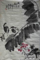 芭蕉小鸟图