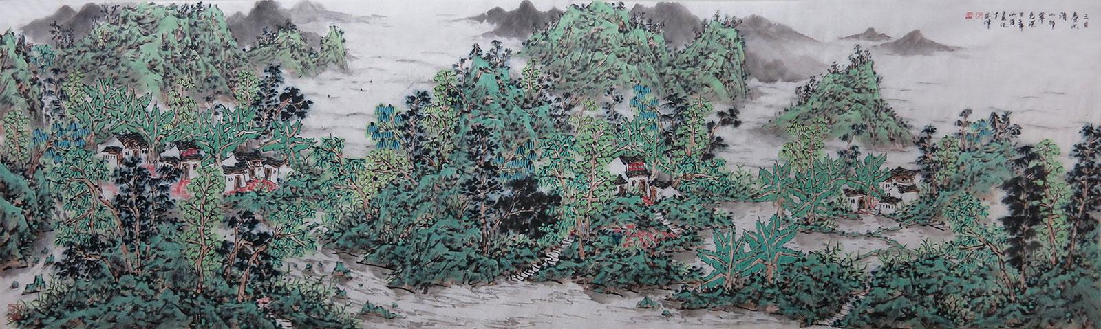三月春水清-山村翠色深