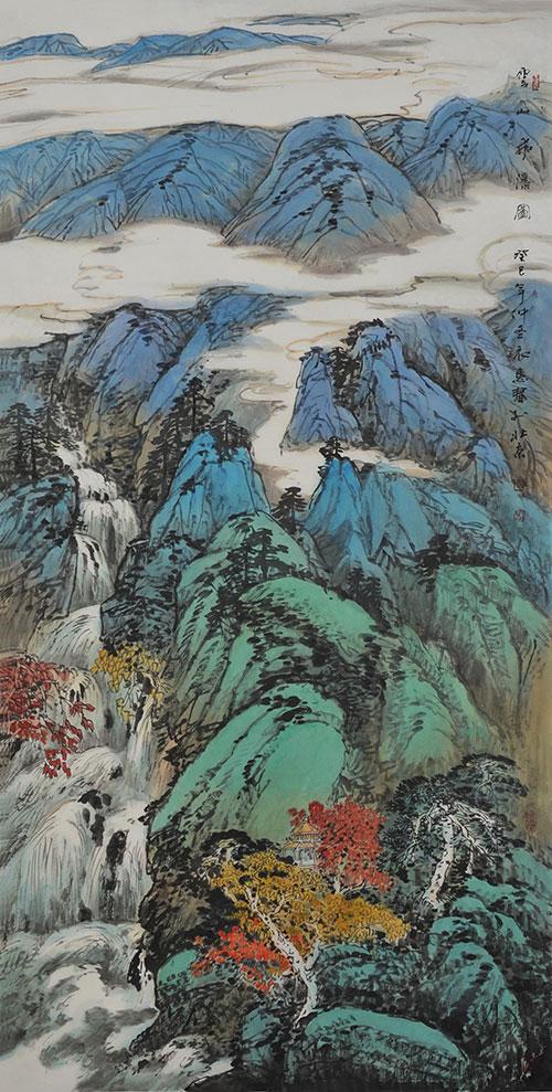 云山飞瀑图