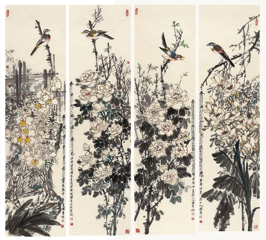 四条屏系列:春风得意百花香之四--纸本