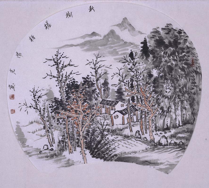 秋树搓枒-扇面