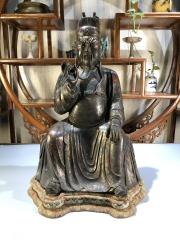 明代,铜漆金关公坐像