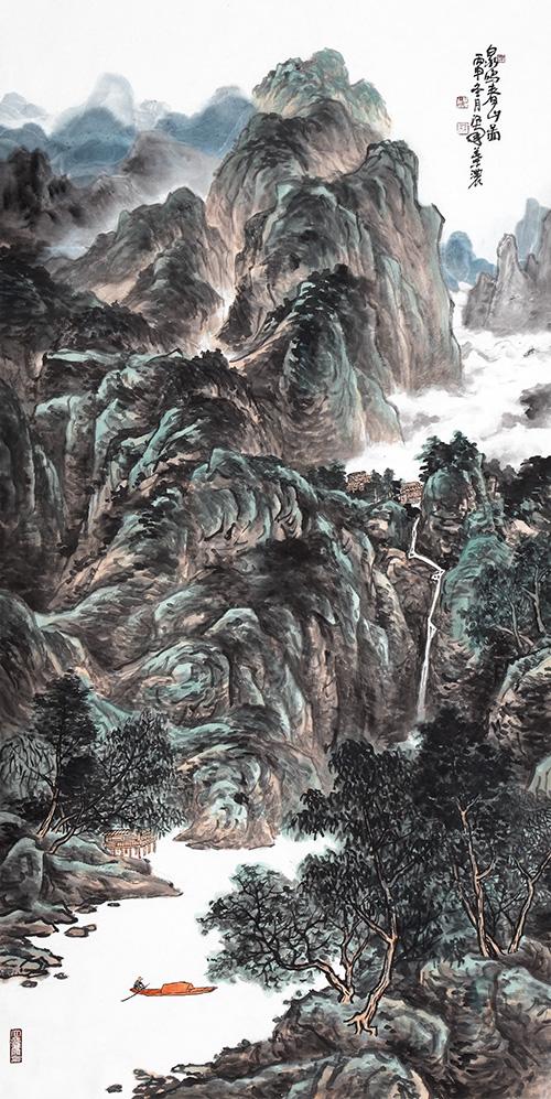 泉鸣春山图