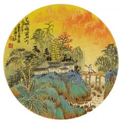 问道山水系列--大青绿金碧山水(9)