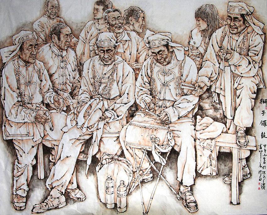 狮子锣鼓(中国画)